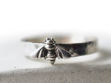 Handmade Sterling Silver Bee Ring with Engraving