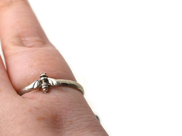 Handforged Sterling Silver Bee Charm Ring