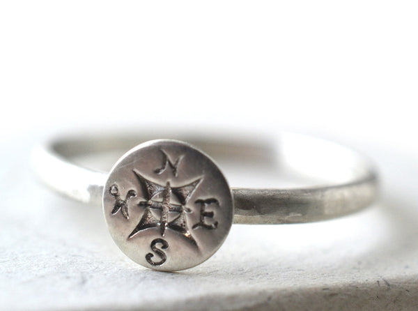 Handmade Sterling Silver Compass Ring