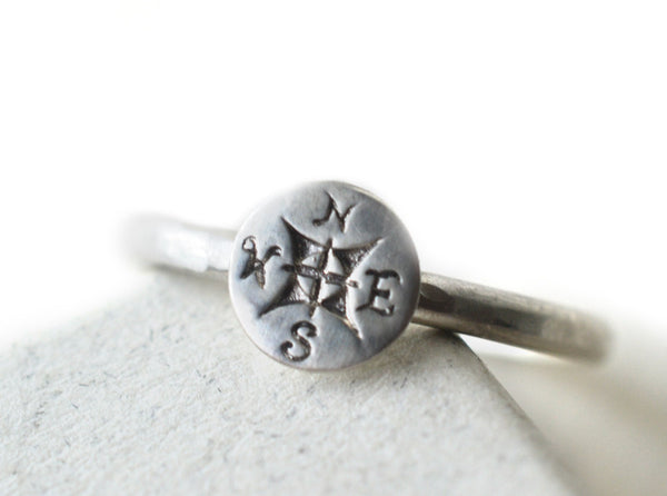 Handmade Sterling Silver Compass Rose Ring