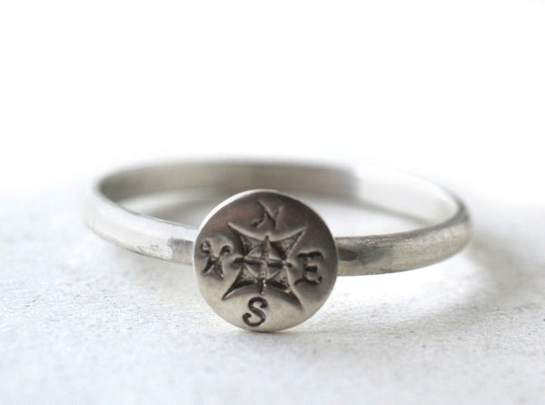 Handmade Sterling Silver Compass Charm Ring