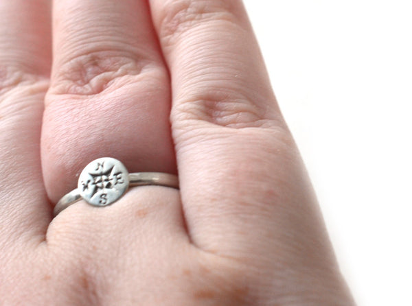 Boho Compass Ring in Sterling Silver