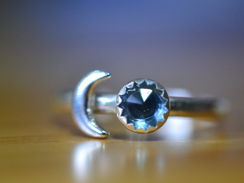 Handmade London Blue Topaz & Sterling Silver Crescent Moon Ring