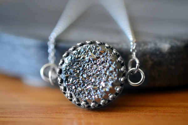 Delicate Silver Druzy Agate Gemstone Necklace with Chain
