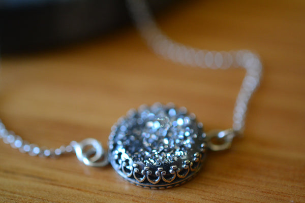 Handmade Silver Drusy Agate Necklace & Chain