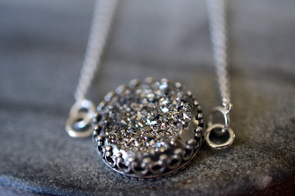 Round Silver Druzy Necklace with Sterling Silver Chain