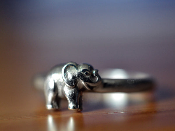 Sterling Silver Elephant Ring with Engraving