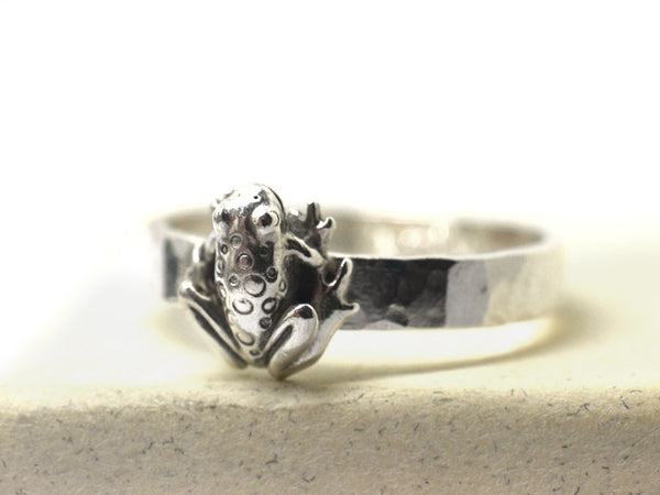 Handmade Engravable Sterling Silver Frog Charm Ring