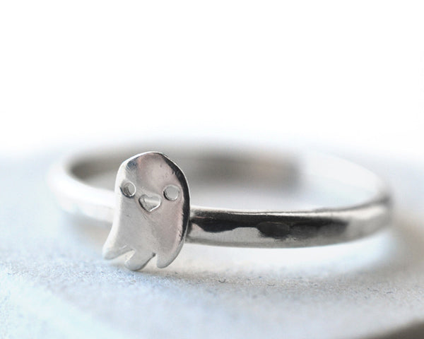 Handmade Cute Silver Ghost Charm Ring