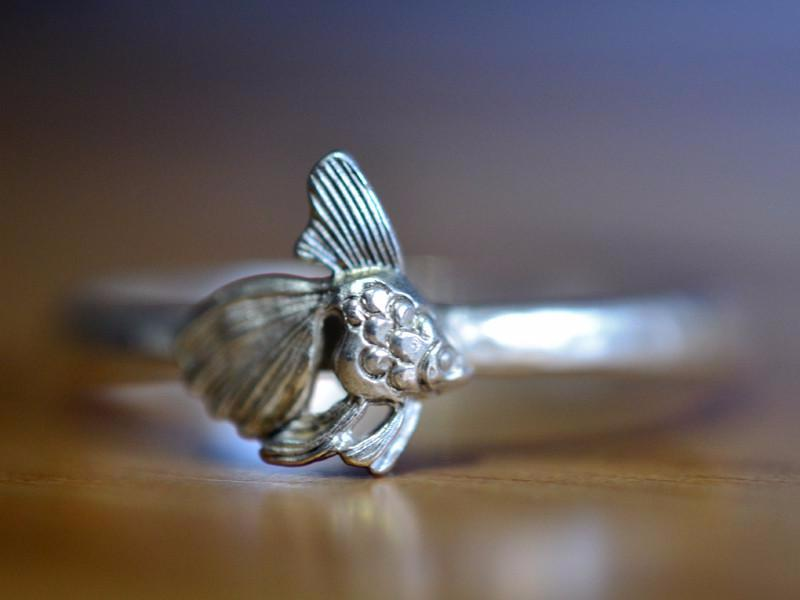 Handmade Sterling Silver Goldfish Ring