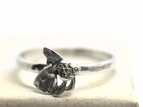Dainty Silver Fantail Goldfish Charm Ring