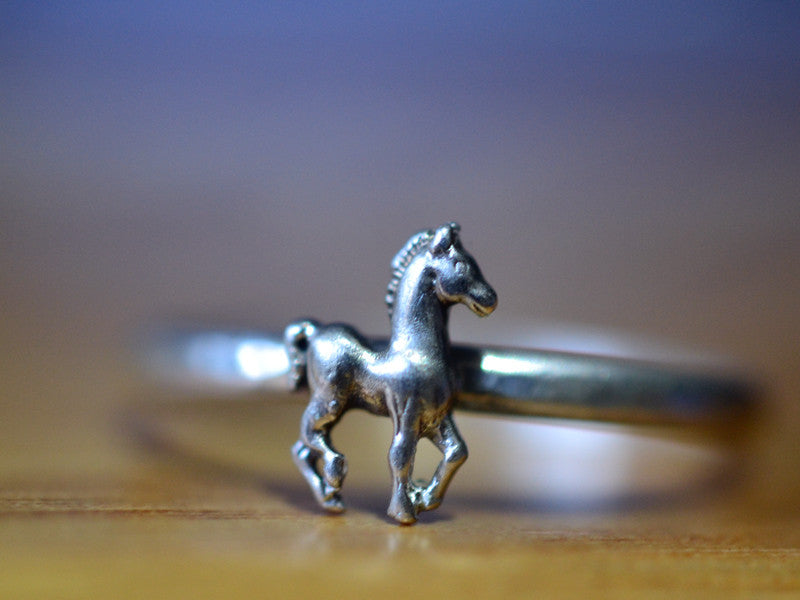 Sterling Silver Horse Ring with Engraving