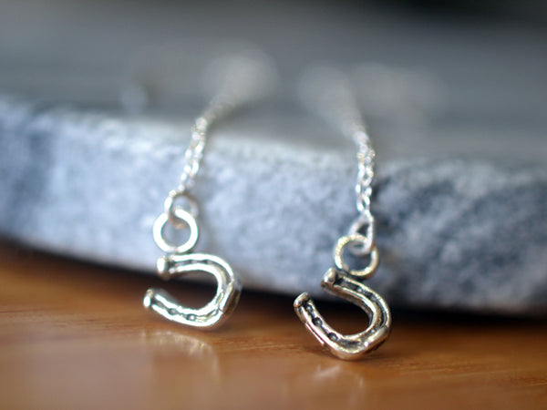 Dainty Horseshoe Thread Earrings in Sterling Silver