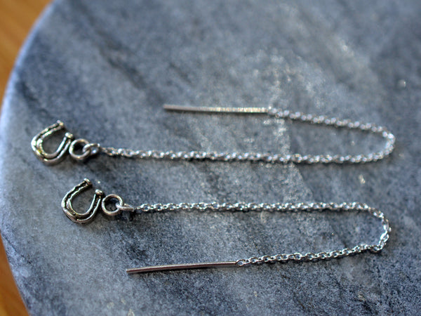 Sterling Silver Horseshoe & Chain Ear Threads