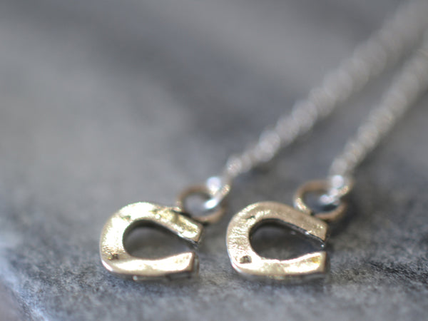 Dainty Little Horseshoe Charm Threader Earrings