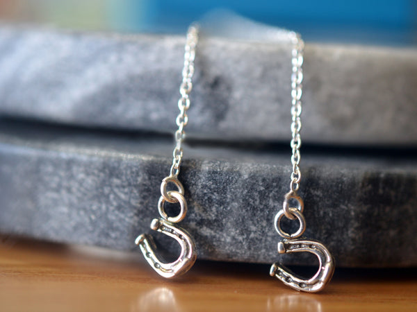 Sterling Silver Horseshoe Charm Thread Earrings