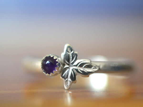 Handmade Dainty Little Amethyst & Sterling Silver Leaf Ring