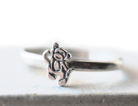 Handmade Sterling Silver Monkey Charm Ring