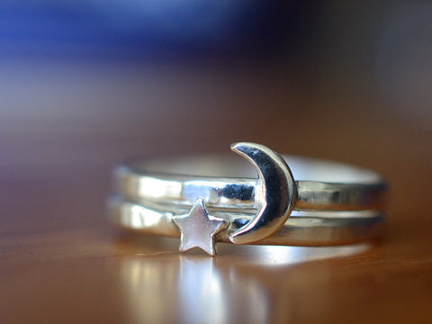 Handmade Silver Moon & Star Stacking Ring Set in Sterling Silver