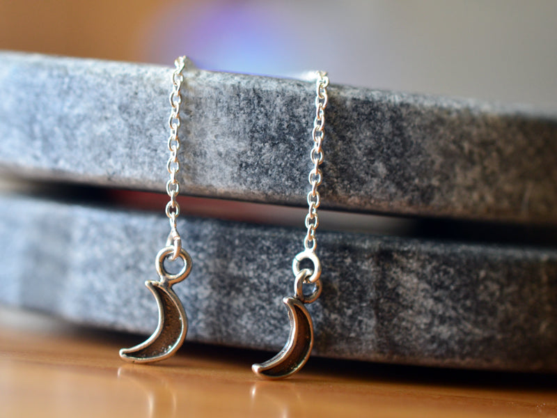 Sterling Silver Crescent Moon Thread Earrings