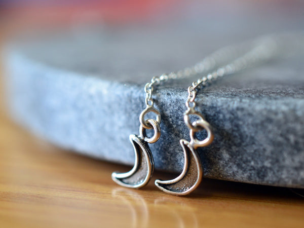 Sterling Silver Crescent Moon Ear Threads