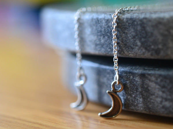 Sterling Silver Crescent Moon Threader Earrings