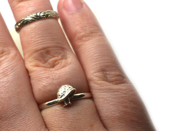 Handmade Little Silver Toadstool Ring