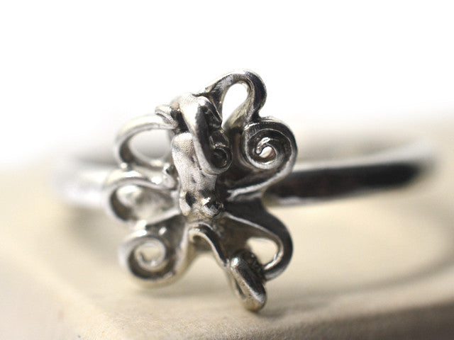 Handmade Silver Octopus Charm Ring