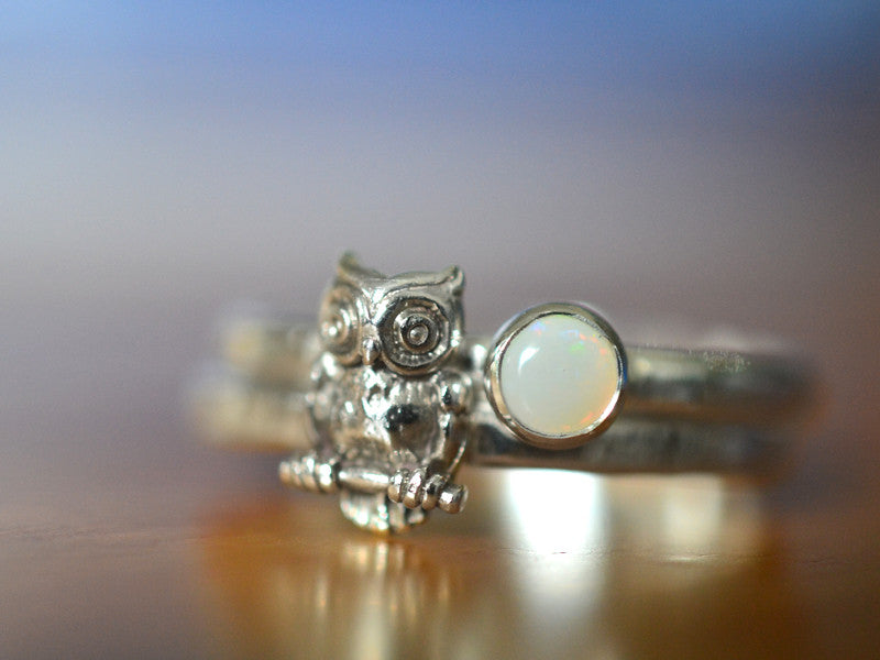 Handmade Sterling Silver Owl & White Opal Stacking Ring Set