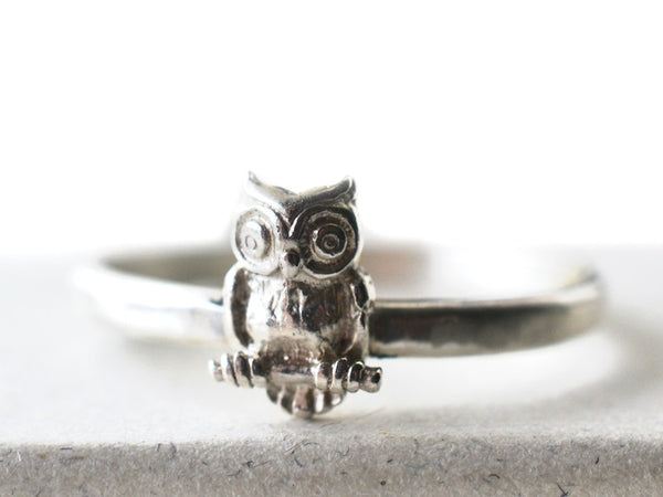 Handmade Sterling Silver Owl Charm Ring