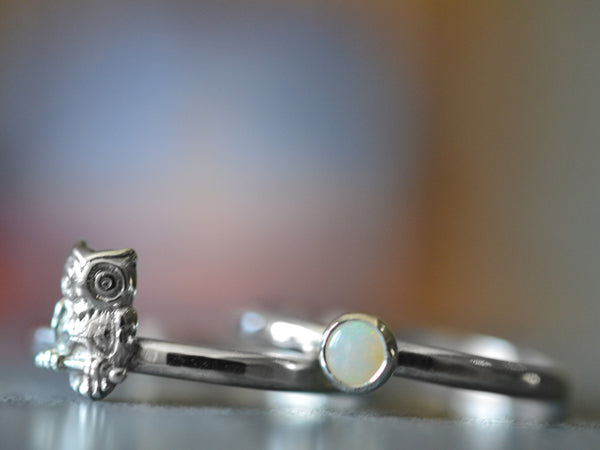 Silver Owl Charm Ring & 4mm White Opal Ring