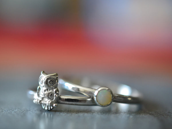 4mm White Opal & Owl Stack Ring Set in Sterling Silver