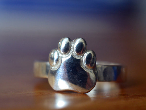 Handmade Sterling Silver Paw Print Ring with Engraving