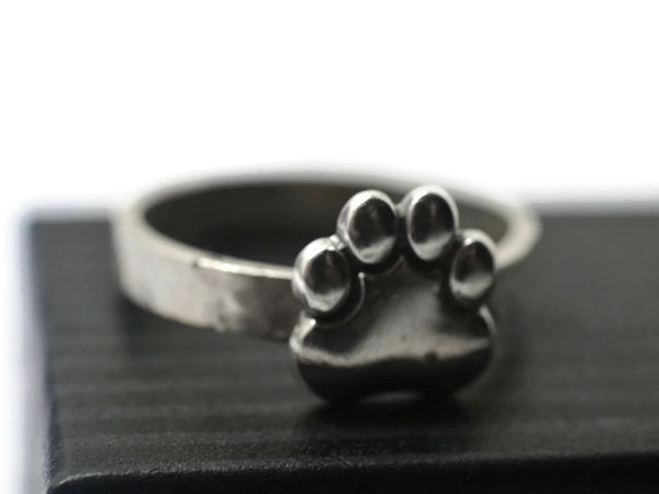 Engravable Sterling Silver Paw Print Ring