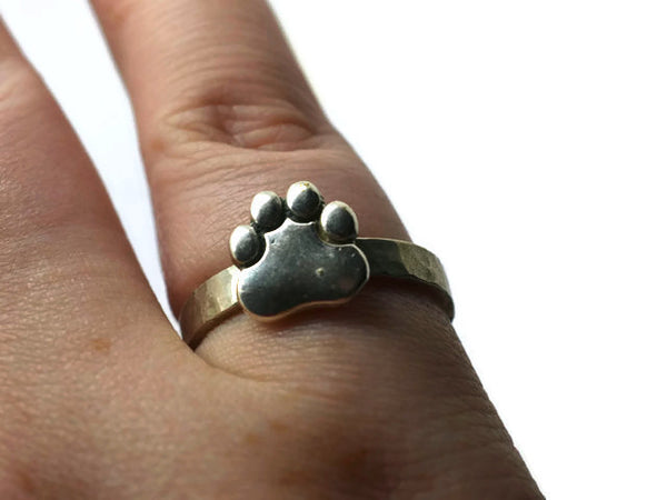 Customizable Silver Paw Print Ring