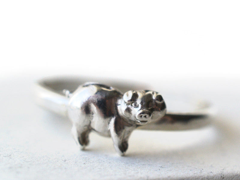 Sterling Silver Pig Charm Ring