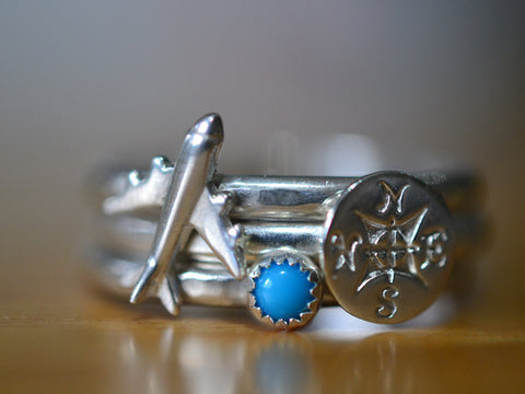 Boho Travel Charm Stacking Ring Set with Tiny Turquoise