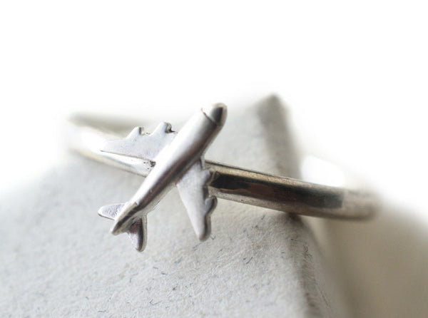 Boho Plane Charm Ring in Sterling Silver