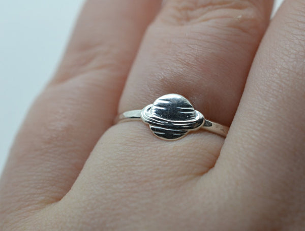 Handmade Sterling Silver Planet Charm Ring