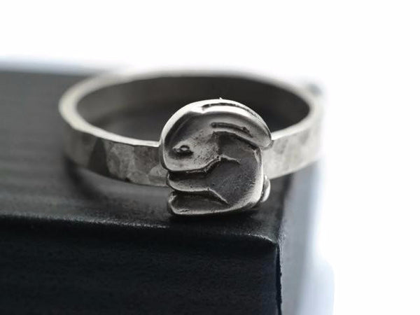 Engravable Silver Rabbit Ring