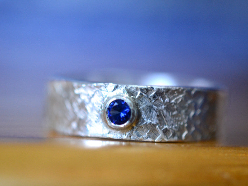 Hammered Sterling Silver & Blue Sapphire Wedding Band