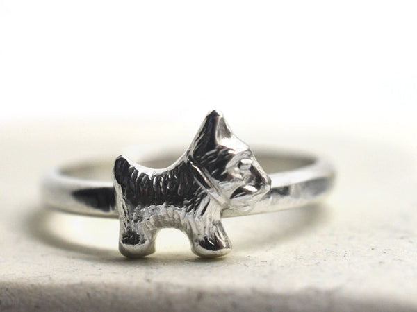 Handmade Sterling Silver Scottie Dog Ring with Engraving