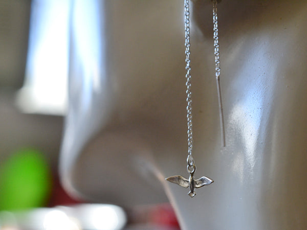 Simple Sterling Silver Seagull Statement Earrings