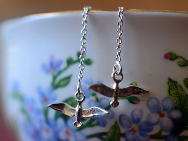 Simple Sterling Silver Seagull Earrings