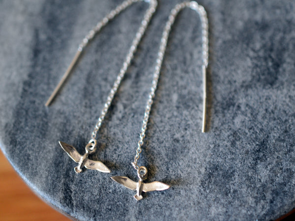 Minimalist Sterling Silver Bird Threader Earrings