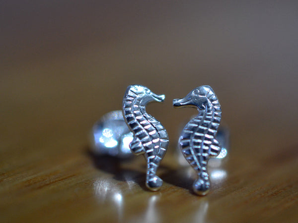 Sterling Silver Seahorse Post Earrings
