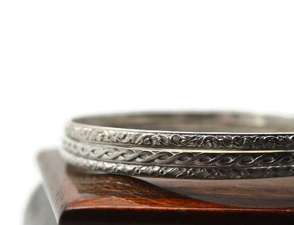 Set of Three Handmade Patterned Silver Stacking Bangles