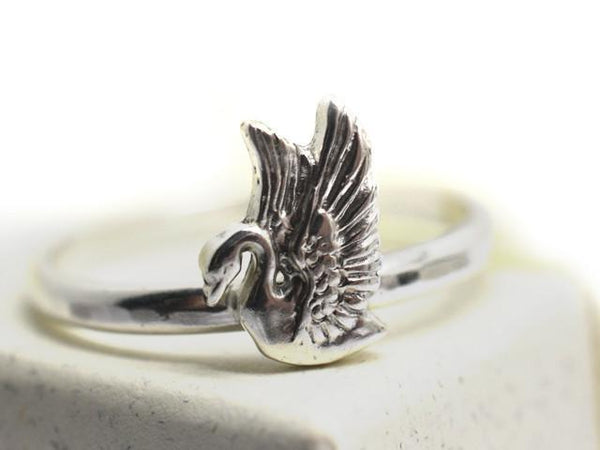 Handmade Sterling Silver Swan Ring for Women