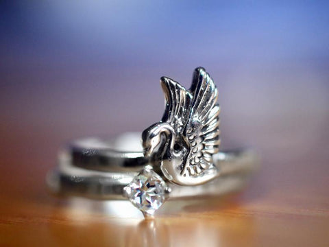Handmade Sterling Silver Swan & White Topaz Ring Set for Stacking