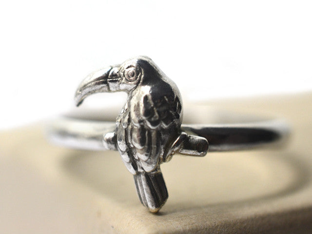 Handmade Sterling Silver Toucan Bird Ring